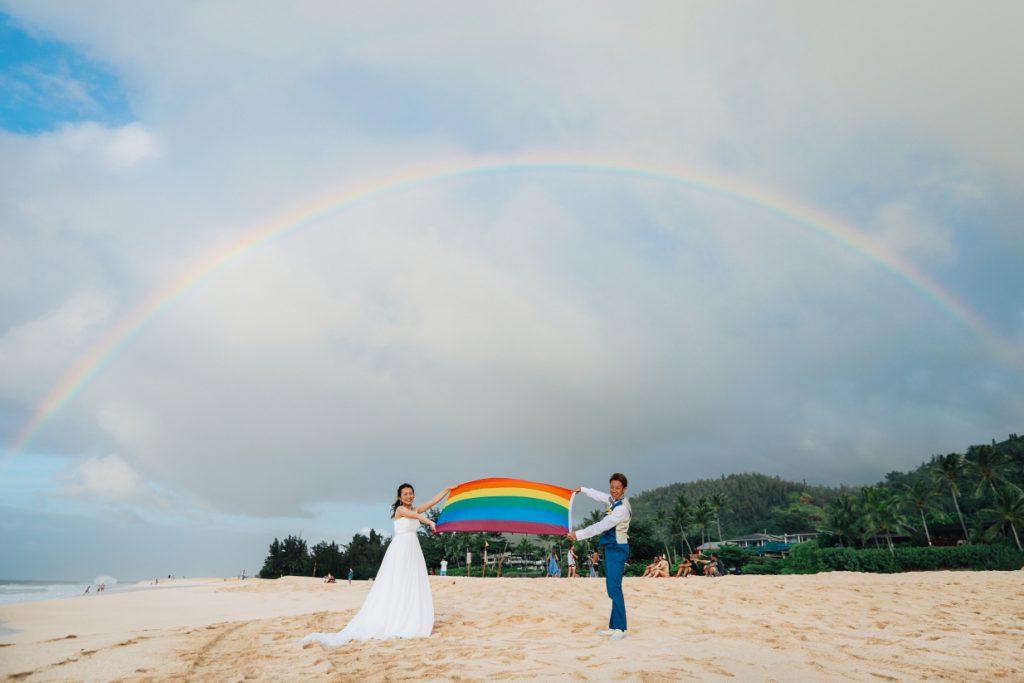 LGBTハワイウェディングレインボー